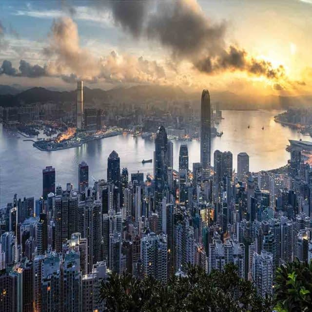 Hong Kong Skyline during sunset