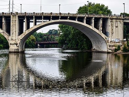 Bridge reflection in Minneapolis, Minnesota