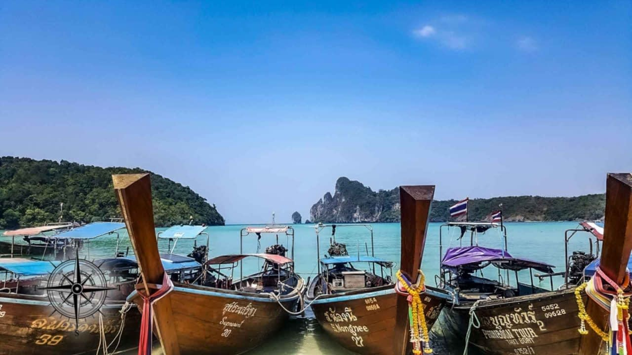 Thai Longboats on a beach