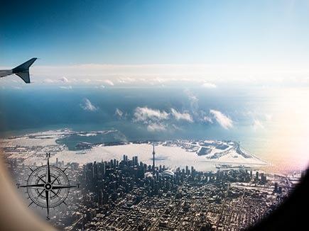 City of Toronto, Canada through airplane Window
