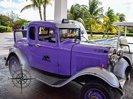 Old Purple Car in Cuba
